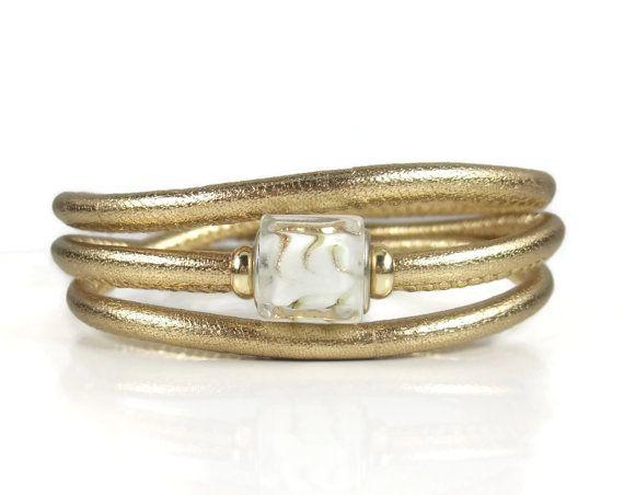 Gold Leather Wrap Bracelet Womens Leather by RealLeatherBracelets