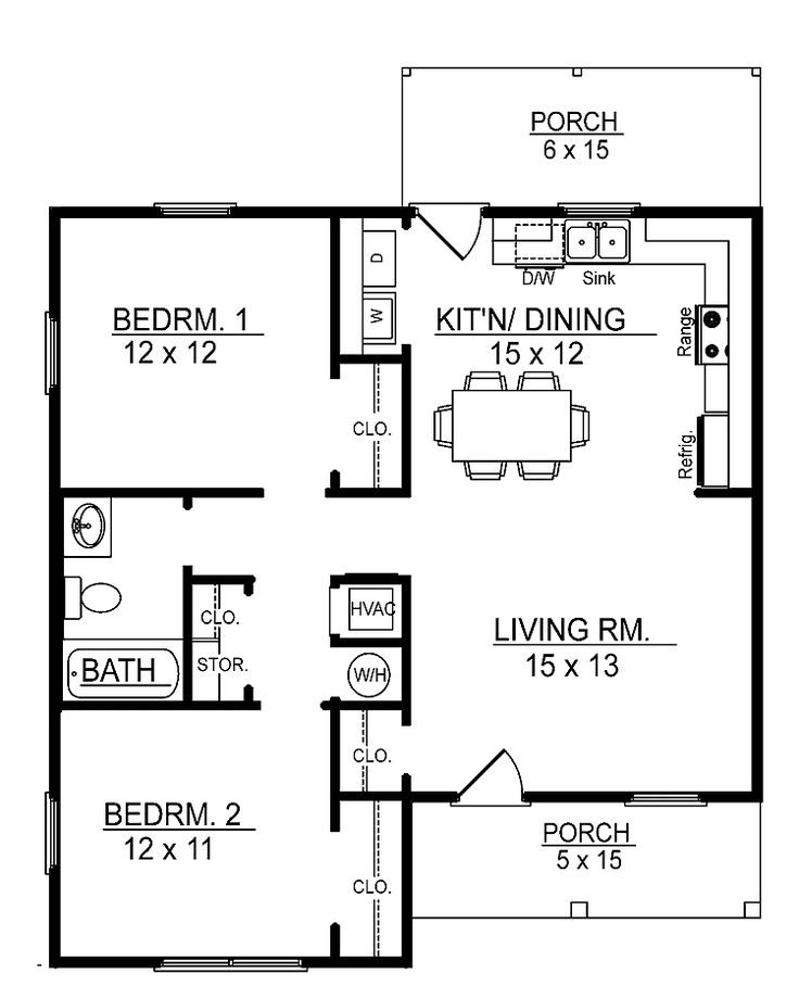 Small 2 bedroom floor plans you can download small 2 for Two bedroom bungalow plans