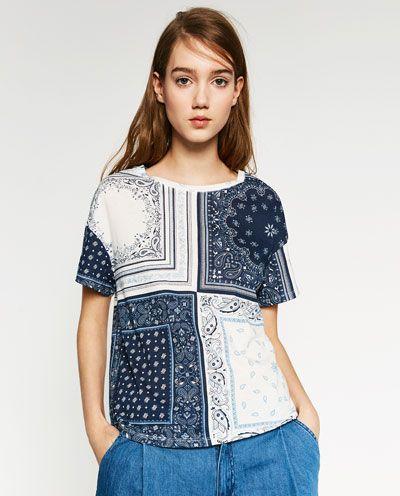 Image 1 of PRINTED CHECK T-SHIRT from Zara