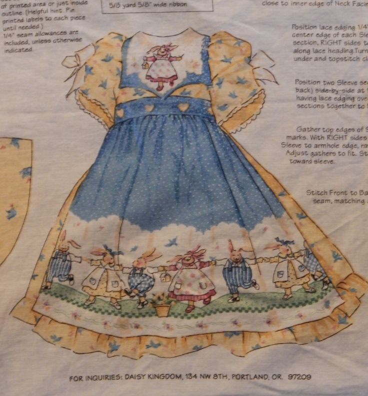 Doll Dress Fabric Panel With Bunnies & Blue Birds/Daisy Kingdom Cut Sew Bunny Hop Dolly Dress/ Doll Size 17-19 Inch Tall/ Pinafore Clothes by RedWickerBasket on Etsy