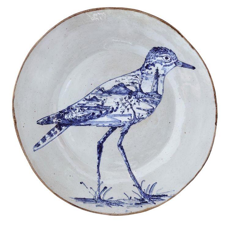 An original ceramic work by Lisa Ringwood entitled: 'Dikkop (Thick-knee) in Kommetjie (large plate)', ceramic, d 40cm. For more please visit www.finearts.co.za #ceramic #LisaRingwood #Ceramicist #SouthAfricanArt #SouthAfricanArtist #ChineseCeramics #InteriorDesign #Decor #Decoration #Landscape #Fauna #Flora #Birdlife #VOCware #Kommetjie #Dikkop