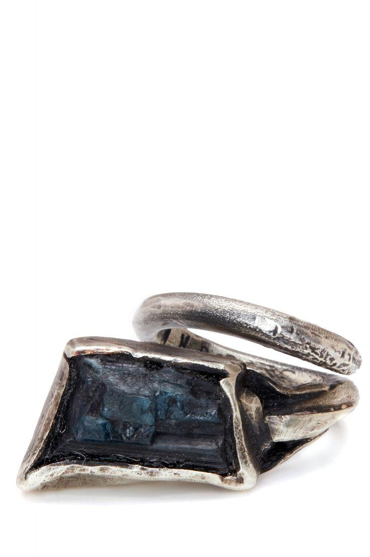 RW London evora blue tourmaline stone silver ring