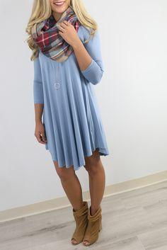 Never Let Go Slate Blue V-Neck Quarter Sleeve Dress