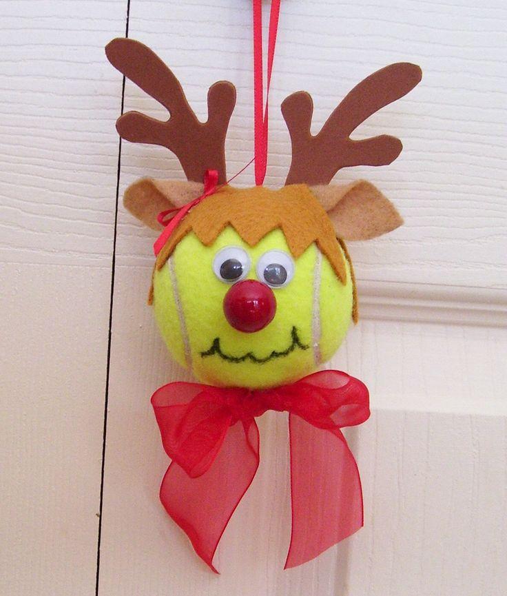 Christmas Reindeer Ornament Tennis Ball (Girl). $8.00, via Etsy.