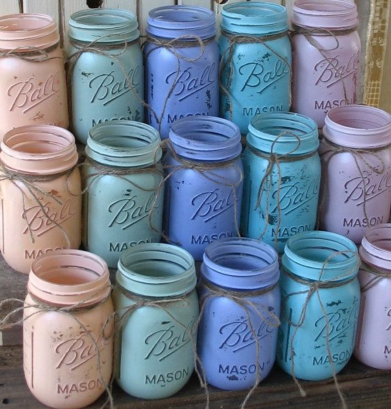 20 Mason Jars, Ball jars, Painted Mason Jars YOUR COLORS , Flower Vases, Rustic Wedding Centerpieces, Showers, Parties Pastel Wedding