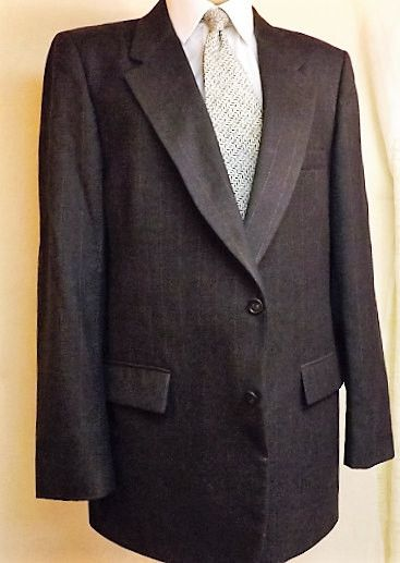 70s Harve Bernard Mens Gray Double Breasted Wool Suit Size 42R