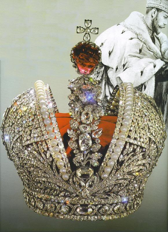 Imperial Crown of Russia created for the coronation of Catherine the Great, Russian Crown Jewels - The gold-and-silver crown made by a court jeweler Jeremiah Posier is decorated with almost five thousand diamonds and 75 perfectly round, even-shaped large pearls. Posier achieved a harmonious combination of magnificent diamonds and white-pink pearls enhancing the stateliness and majesty of the crown's design. A huge ruby-red spinel crowned with a diamond cross was placed on top.