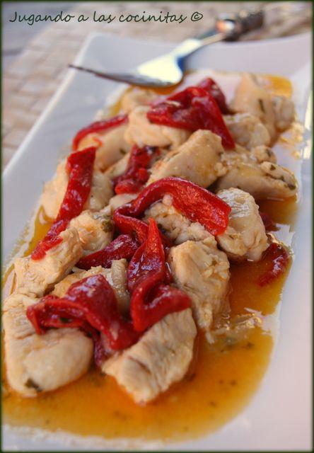 Pechuga de pollo con pimientos (Thermomix)