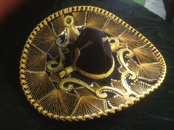 Authentic Pigalle Sombrero Black and Gold Mexican Hat Charro Mariachi Costume Theater wide brimmed
