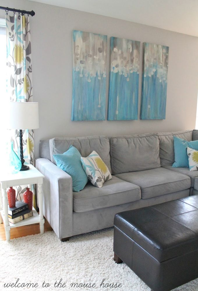 House Of Turquoise Welcome To The Mouse Like Grey Couch And Art On Wall Find This Pin More Living Rooms