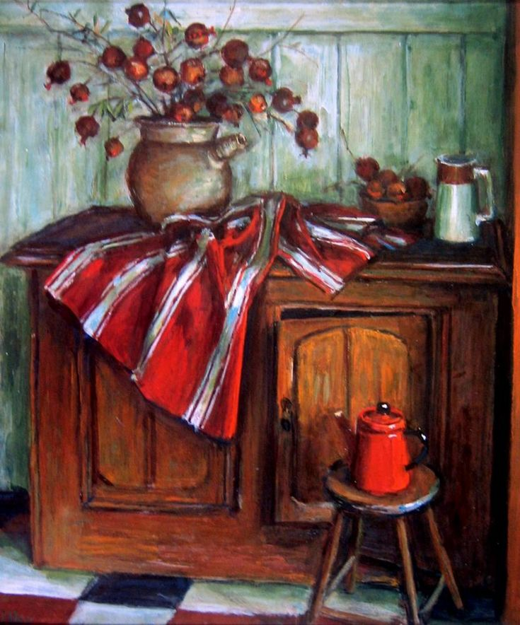 Still Life with Red Pot and Pomegranates ~ Margaret Olley