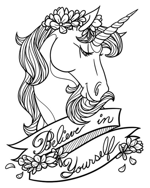Believe In Yourself Coloring Unicorn Print By Laetitia Ulick From Canvasondemand