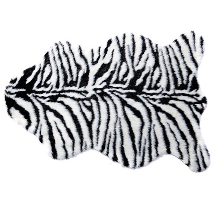 Zebra/Tiger /Leopard Stripe Hairy Carpet Imitation Wool Sheepskin Chair Seat Pad Super Soft Shaggy Plush Fluffy Rugs Multisize