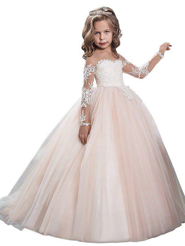 f4ed64f0e8fd Ball Gown Scoop Long Sleeves Floor-Length Tulle Flower Girl Dresses ...