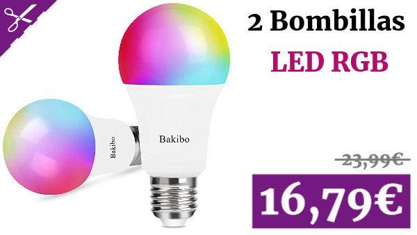 Bakibo Bombilla Led Inteligente Wifi Regulable 9w 1000 Lm Lampara E27 Multicolor Bombilla Compatible Con Alexa Echo Google Home Bombillas Bombillas Led Led
