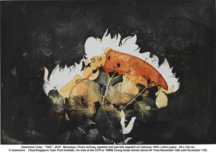 """artwork: Genevieve Chua - """"1847"""", 2010 - Monotype, Photo etching, aquatint and spit bite aquatint on Fabriano 100% cotton paper - 80 x 122 cm."""
