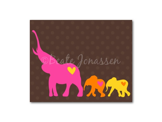 Printable Wall Art  Elephant Love 2 by CuteMemories on Etsy, $8.00