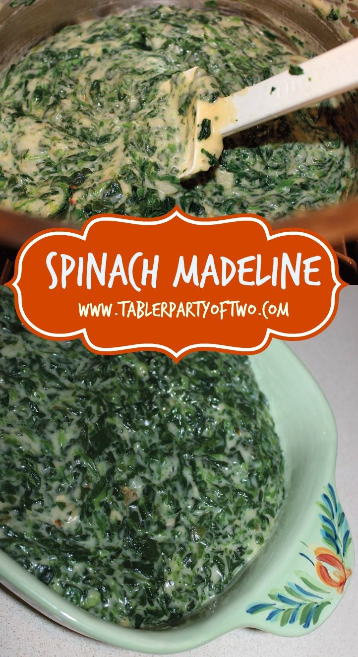 PIN THIS! Southern, spicy, AMAZING goodness! A delicious twist on creamed spinach. You really must try Spinach Madeline this holiday season! www.tablerpartyoftwo.com