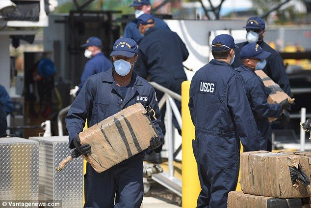 US Coast Guard unloads 21 TONS of cocaine confiscated during 30 operations | Daily Mail Online