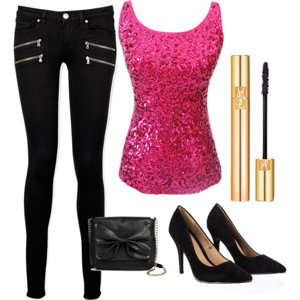 BLACK&PINK LOVE♡ by jeanettejeanette on Polyvore featuring polyvore fashion style Paige Denim Lipsy Sam & Libby Yves Saint Laurent