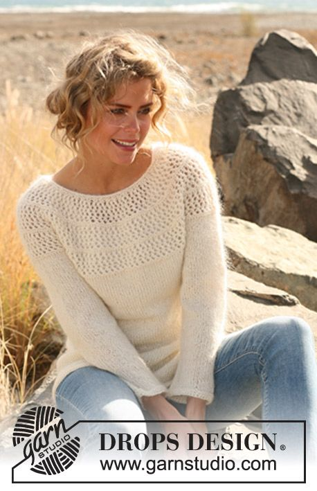"Knitted DROPS sweater with lace pattern and round yoke in ""Alpaca"" and ""Kid-Silk"". Size: S - XXXL. ~ DROPS Design"