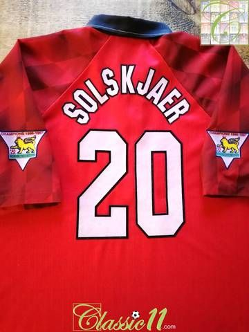 b81a833bb49 Official Umbro Manchester United home football shirt from the 1996 97  season. Complete with Solskjaer  20 on the back of the shirt in official  flock ...