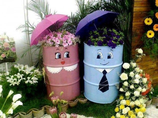 "30 Fascinating Low-Budget DIY Garden Pots, could also paint plaid shirt on ""him"" and old timey dress on ""her"""