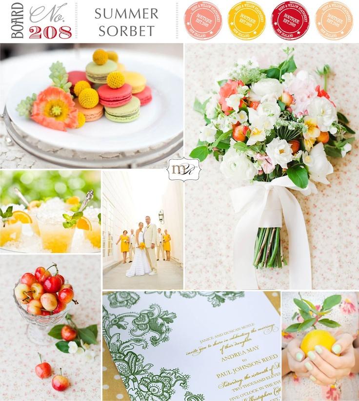 Magnolia Rouge Wedding Inspiration Board #208: Summer Sorbet: Summer Sorbet, Colors Palettes, Magnolias Rouge, Wedding Inspiration Boards, Accent Colors, Colour Palette, Colour Combos, Boards 208, Colors Inspiration