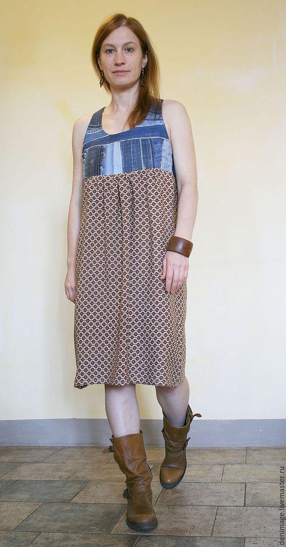 Купить Сарафан из джинсы и визкозы - сарафан, сарафан летний, джинсовое платье, деним, джинсовый стиль
