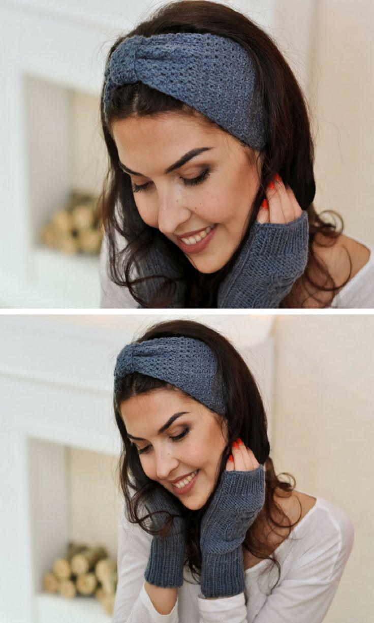 gift for women Birthday gifts for girlfriend Knit ear warmer gray Turban headband Knitted wool earmuffs
