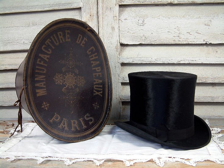 Antique French top hat / beaver hat in its original Paris hat box. Victorian. Edwardian. Steampunk. by Chanteduc on Etsy https://www.etsy.com/listing/237154593/antique-french-top-hat-beaver-hat-in-its