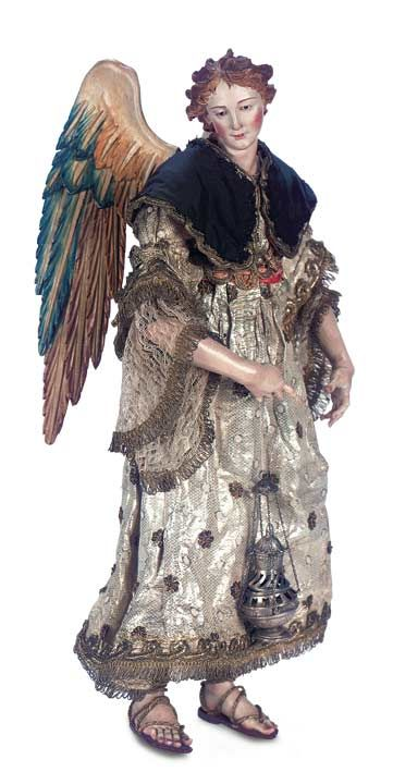 """16"""" extraordinary Neapolitan 18th century crèche angelView Catalog Item - Theriault's Antique Doll Auctions"""