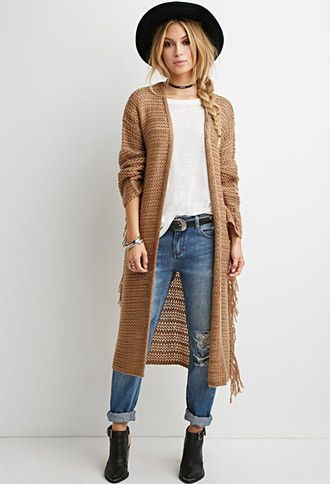 Loose Knit Tasseled Cardigan | Forever 21 - 2000140837 boho outfit; long; black hat; braided hair