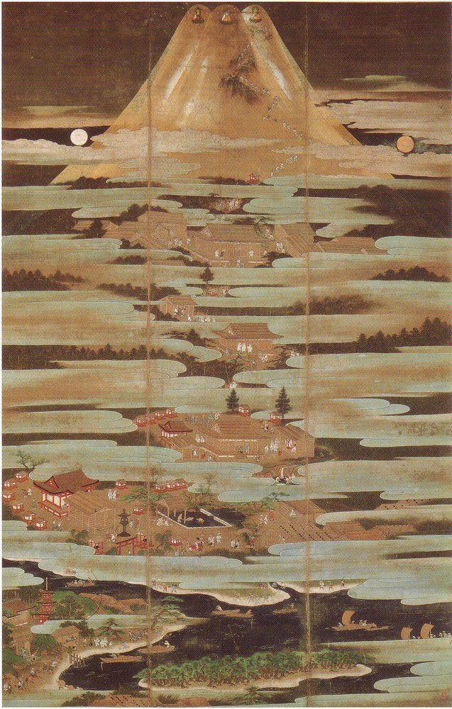 (Symbol #35 Earth Symbols-Mountain)-path of self-realization as an ascent to the summit of Mount Fuji- Fujimandalazu, Kano Motonobu, 16th century