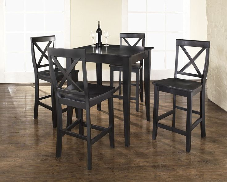 Round Black Pub Table And Chairs