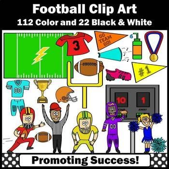 You will receive 134 football sports themed clip art images (112 color and 22 black and white). These work well for fall football unit activities, including bulletin boards, labels, interactive notebooks, foldables and other projects. Kids love cute clip art!