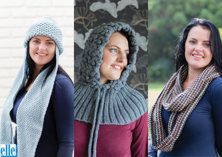 Beanie Cowl Hooded Cowl Infinity Scarf  Brand: Elle Count: Double Knit Yarn: Pure Gold DK & Print One size only: Adult