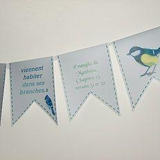 Banderole personnalisées Thème oiseaux du ciel. MarieRêve crée et réalise vos décorations personnalisées, votre Buffet Douceur ou Bar à bonbons pour fête, anniversaire, mariage, baptême, baby-shower... http://mariereve7.wix.com/mariereve