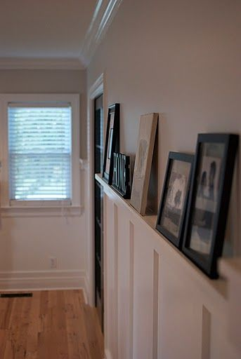 Board and Batten with a picture ledge for the hallway. Low Country Living: Living Large