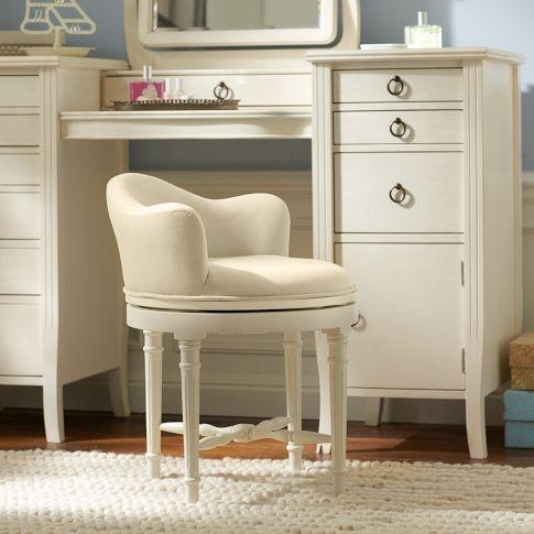 Pottery barn swivel vanity stool vanity pinterest - Bathroom vanity chair with casters ...