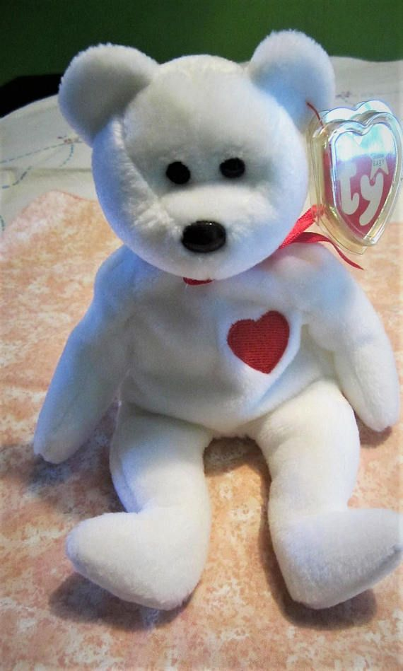TY 1993 Valentino Beanie Baby Toy White Bear Plush Toy with