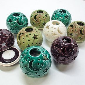 Lavender Blush Eggplant Purple Candle holder, Handmade Pottery, THE ORIGINAL Ceramics Star Candileria™ #Ceramicpottery