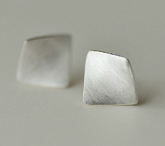 Simple & Elegant Silver Earring, Silver Ear Studs, Handmade Silver Ear Studs/Earrings, Curved Square Shape Sterling Silver Ear Studs