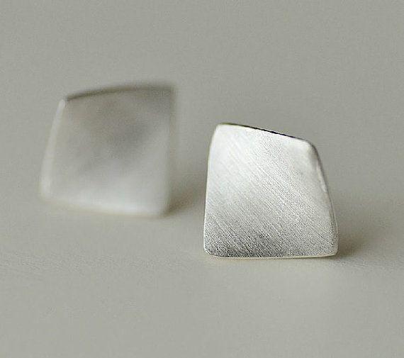 Simple & Elegant Silver Earring, Silver Ear Studs, Handmade Silver Ear Studs/Earrings, Curved Square Shape Sterling Silver Ear Studs