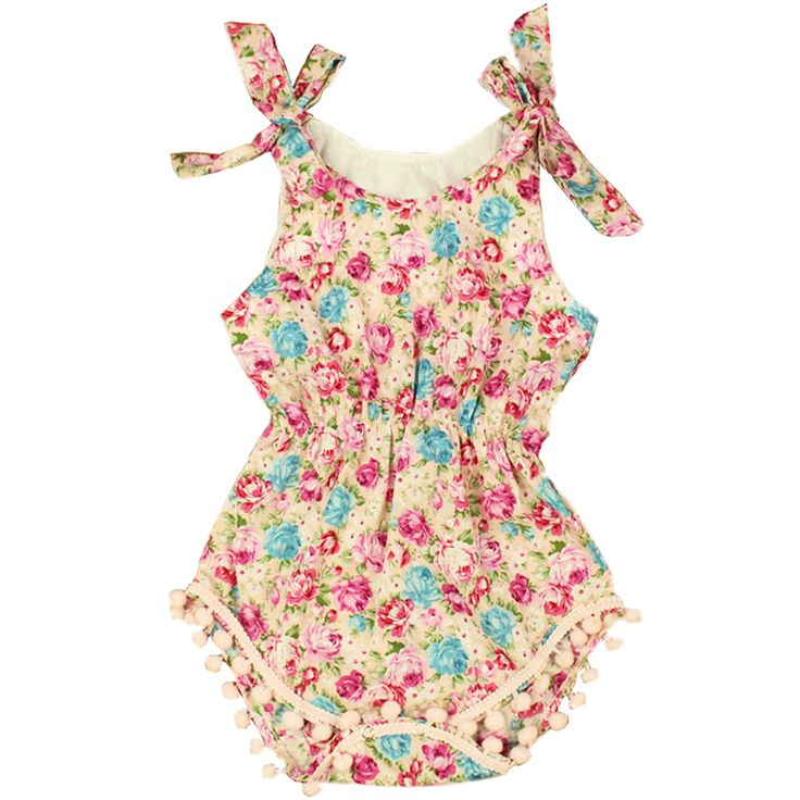 Boutique Floral Baby Girl Pom Pom Rompers, Summer Newborn Infant Girl Costume, Soft Cotton Baby One-pieces Creepers.