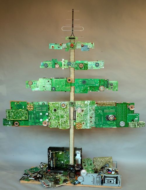 1 pinner said: We thought we'd seen Christmas trees made from just about everything . . . now there's this cool one made from e-waste.