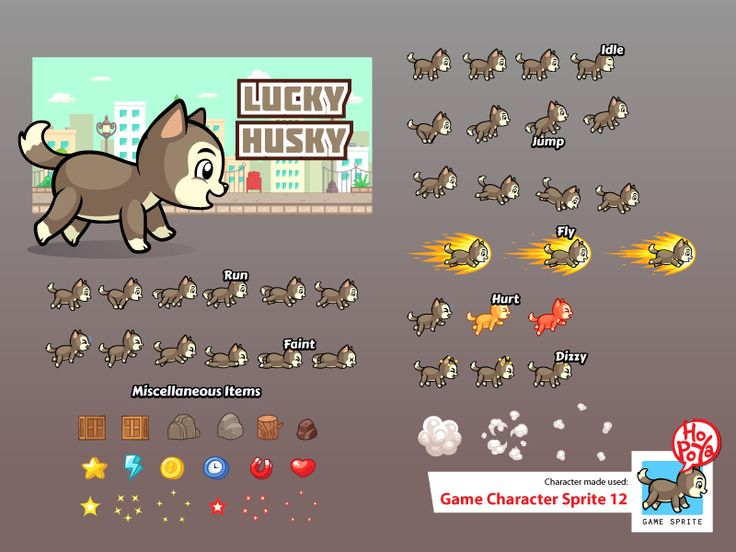 Lucky Husky spritesheet for side scrolling action adventure endless runner 2D mobile game.  The files included: - Customizable Lucky Husky character spritesheet. - Vector AICS and EPS10 files. - Tr...