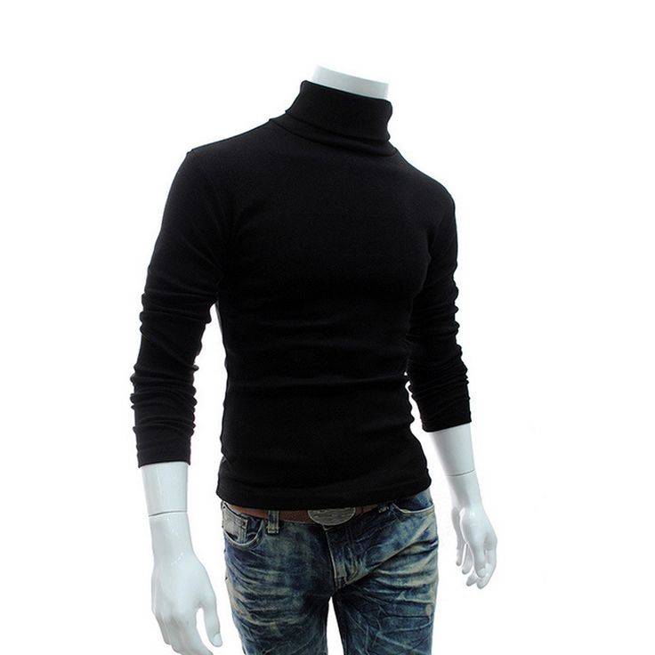2016 Winter Mens Turtleneck Sweaters Black Pullovers Clothing For Man Cotton  Knitted Sweater Male Sweaters Pull Hombre XXXL 50
