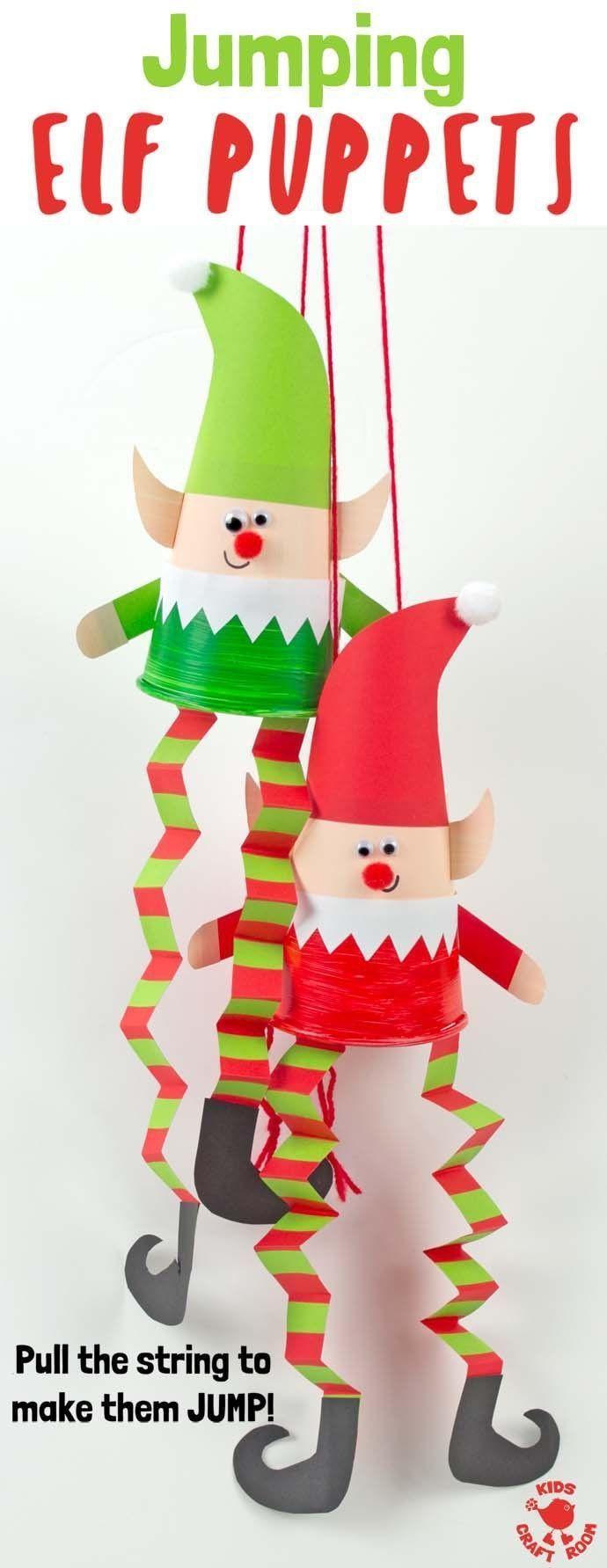 Dieses Jumping Paper Cup Elf Puppet Craft macht so viel Spaß. Zieh die Schnur um zu sehen