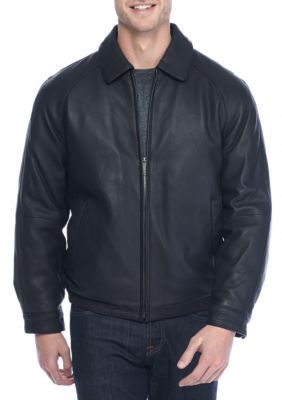 Nautica Men's Leather Bomber Jacket - Black - Xl